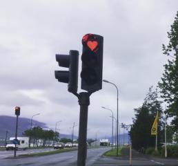 Love heart traffic lights